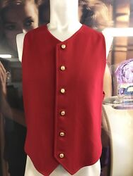 RARE Authentic Vintage Versace Red Lana Wool Mens Button Down Vest w Suede Back