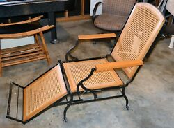 Antique 1876 Cast Iron Cane Chaise Lounge Marks Adjustable Folding Chair    WF
