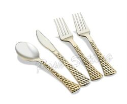 Posh Setting Heavyweight Gold Plastic Cutlery Hammered Silverware 160 Pc Set. $24.99