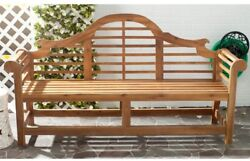 Wooden Curved Back Bench Garden Patio Furniture Deck Outdoor Living Natural New