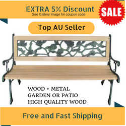Wooden Garden Bench Outdoor Furniture Park Patio Seat Lounge Chair Timber Metal