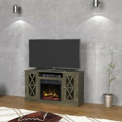Electric Fireplace in Spanish Gray Bayport 47.50 in Media Console Classic Flame