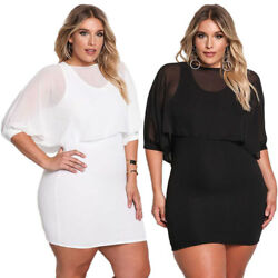 Sexy Women Plus Size Dress Casual Bodycon Evening Cocktail Chiffon Mini Skirt $18.99