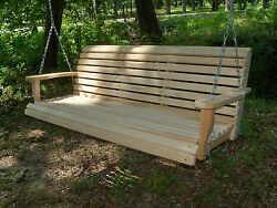 5ft REG Cypress Wood Wooden Porch Bench Swing WITH HANGING HARDWARE Made In USA $189.99