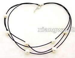 10-11mm Potato White Natural Pearl Necklace for Women 3 Strands 19-21