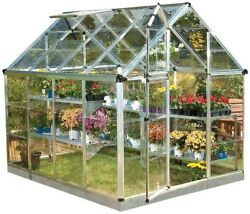 Palram Snap and Grow Greenhouse 6ft x 8 ft Silver Polycarbonate Outdoor Building