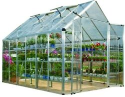 Palram Snap and Grow Silver Polycarbonate Greenhouse 8 ft x 12 ft Yard Building
