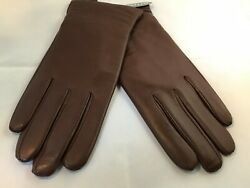 New LUXURY Leather Cashmere Gloves Brown Women's Large