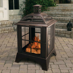 Outdoor Wood Burning Fireplace Steel Grate Chiminea Outdoor Living Patio Heater