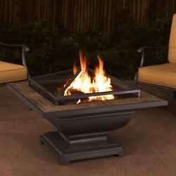Table Fire Pit Wood Burning Square Outdoor Fireplace Lid Large Fire Bowl Yard