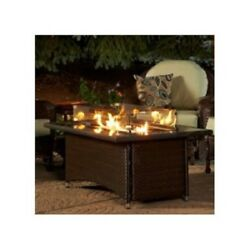 Propane Fire Pit Table Wicker Base Glass Top Cover Outdoor Patio Living Brown