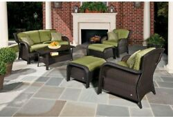 Strathmere 6-Piece Deep Wicker Patio Seating Set with Cilantro Green Cushions