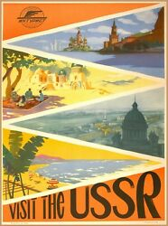 Visit the USSR Scenic Russia Vintage Russian Travel Art Poster Print $7.19