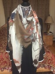 ONE of a KIND SUMPTUOUS LORO PIANA cashmeresilk floral fringed SHAWLscarf