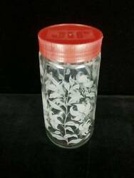VTG Tang Pitcher Storage Jar Etched Lilies Red JIF Lid 8.5quot; Tall Anchor Hocking $14.99