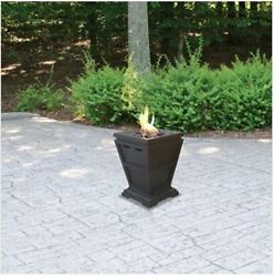 NEW! Small Outdoor Propane Gas Tabletop Fire Pit Portable Patio Stone Fireplace