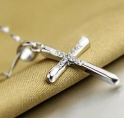 Women's 925 Sterling Silver Cross Elegant Crystal Pendant 18quot; Chain Necklace $13.99