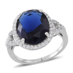 BLUE ROYAL OVAL WHITE SIMULATED DIAMOND HALO STERLING SILVER RING SIZE 6 ELITE