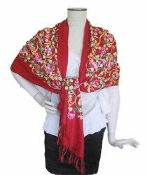 Embroidered Pashmina Scarf 100% Cashmere Shawls and Wraps for Evening Dress for