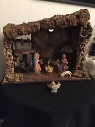 Vintage Italian Italy Christmas Wooden  Manger Nativity Set