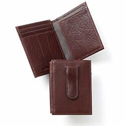 Card Cases Men's Money Clip Holder Wallet With ID Window Italian Leather (brown)