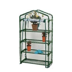 Greenhouse Kit Small Indoor Outdoor Mini Portable Frame Cover 4 Shelf Crafters