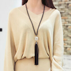 Womens Tassel Pendant Sweater Chain Long Beads Necklace Fashion Jewelry Gift