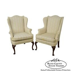Hickory Chair 18th Century Style Pair of Mahogany Queen Anne Wing Chairs