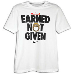 "Nike LeBron James ""Earned Not Given"" T-Shirt White Men's Medium XL 3XL BNWT!"