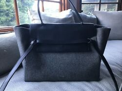 Authentic Celine Belt Bag -  Grey Wool Flannel Felt and Leather  - Used