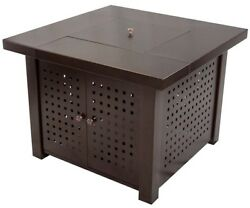 Propane Gas Fire Pit Tabletop Square Steel Outdoor Patio Heater Piezo Ignition