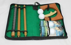 Folding Golf Putter Club Ball Practice Hole Gift Set in Case w Spalding Balls $39.99