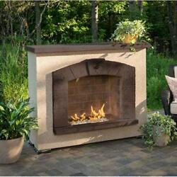 OUTDOOR GREATROOM SAFP-1224 Stone Arch Gas Fireplace with Stucco Finish