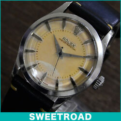 ROLEX Oyster Perpetual semi bubble Ref.6332 original two-tone wedge index CAL.A2