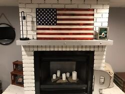Wooden American Flag Rustic Decor Handcrafted $195.00
