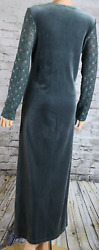 CAROLE LITTLE Dress Formal Velour Long gray pewter Lace Illusion Arm Full 8 $14.97