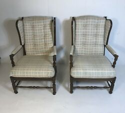 Pair Ethan Allen Traditional Classic Wing Chairs