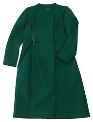 Valentino Green Silk Wool Blend Pleated Trench Coat Serpent Pin Size 8 NEW wTAG