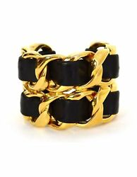 100% Authentic Chanel Vintage '86 Black Leather Woven Gold Chain Link Cuff Brace
