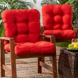 Patio Cushions Replacements For Chairs High Back Outdoor Seat Furniture Set of 2