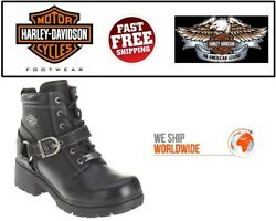 Harley Davidson® D84424 Women#x27;s TEGAN 4quot; Lace up Black Leather Motorcycle Boots $117.26