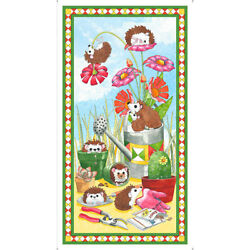 Hedgehog Garden Animal Cute Cotton Fabric QT Who Let The Hogs Out 24