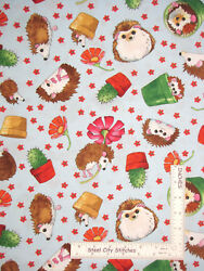Hedgehog Animal Garden Toss Blue Cotton Fabric QT Who Let Hogs Out By The Yard