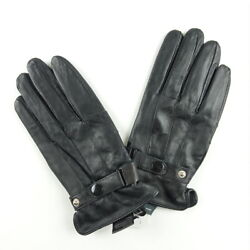 Gloves Men#x27;s Black Leather Lined Winter Driving Snap Closure Various Sizes $5.99