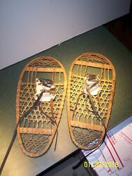 Vintage Wood amp; Leather Bear Paw Snow Shoes $180.00
