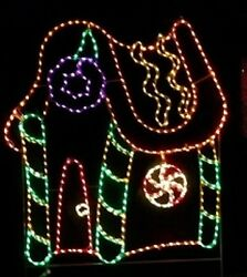 Gingerbread House Xmas Holiday Outdoor LED Lighted Decoration Steel Wireframe