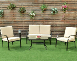 Garden Furniture Set Patio Coffee Table Sofa Metal Bistro Loveseat Clearance 4pc