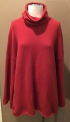 NORDSTROM COLLECTORS RED M 100% PURE CASHMERE TURTLENECK SWEATER FLARE SLEEVES!