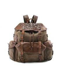 Campomaggi Women's Coated Canvas Embellished Backpack Military Green One Size