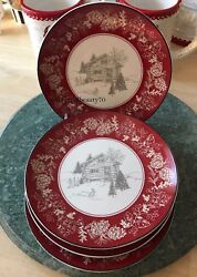 222 Fifth Christmas Appetizer Plates Set of 4 Andover Pine Cones Cabin 6.5